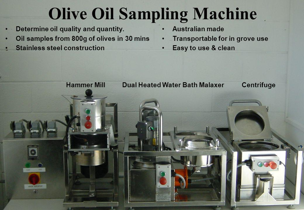 Olive Oil Sampling Machine Determine oil quality and quantity.