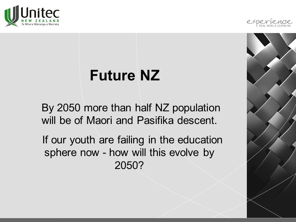 Future NZ By 2050 more than half NZ population will be of Maori and Pasifika descent.
