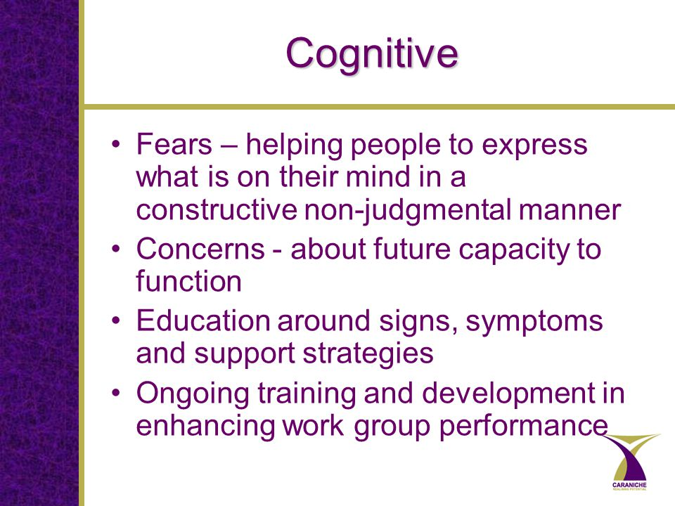Cognitive Fears – helping people to express what is on their mind in a constructive non-judgmental manner Concerns - about future capacity to function Education around signs, symptoms and support strategies Ongoing training and development in enhancing work group performance