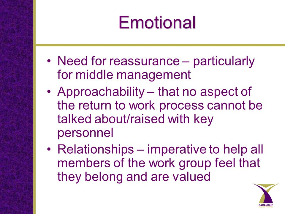 Emotional Need for reassurance – particularly for middle management Approachability – that no aspect of the return to work process cannot be talked about/raised with key personnel Relationships – imperative to help all members of the work group feel that they belong and are valued