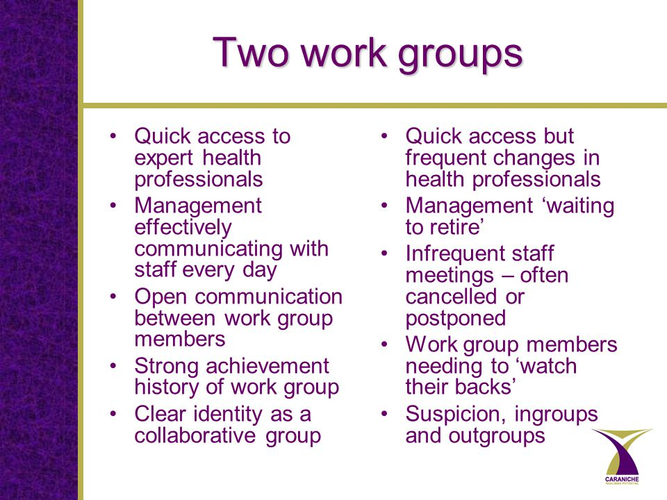 Two work groups Quick access to expert health professionals Management effectively communicating with staff every day Open communication between work group members Strong achievement history of work group Clear identity as a collaborative group Quick access but frequent changes in health professionals Management 'waiting to retire' Infrequent staff meetings – often cancelled or postponed Work group members needing to 'watch their backs' Suspicion, ingroups and outgroups