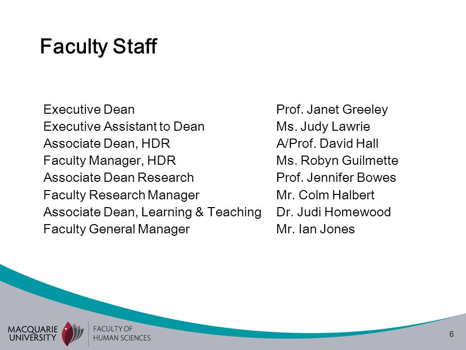6 Faculty Staff Executive DeanProf. Janet Greeley Executive Assistant to DeanMs.