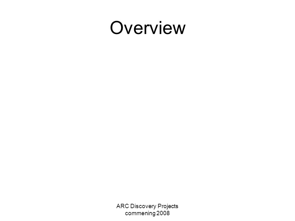 ARC Discovery Projects commening 2008 Overview