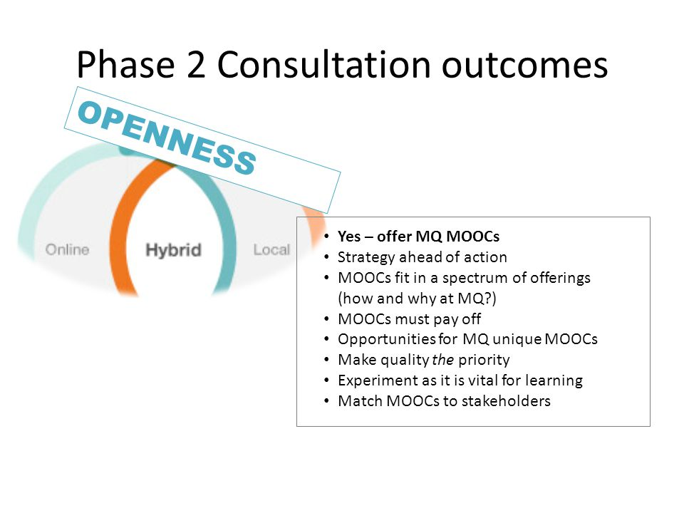 Phase 2 Consultation outcomes OPENNESS Yes – offer MQ MOOCs Strategy ahead of action MOOCs fit in a spectrum of offerings (how and why at MQ ) MOOCs must pay off Opportunities for MQ unique MOOCs Make quality the priority Experiment as it is vital for learning Match MOOCs to stakeholders