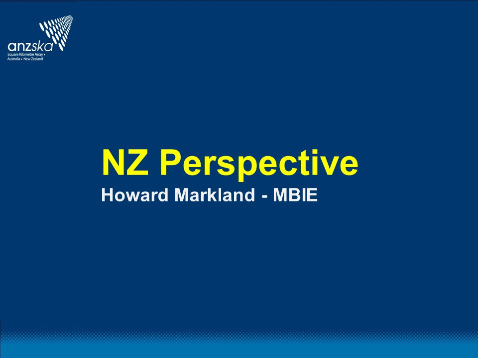 NZ Perspective Howard Markland - MBIE