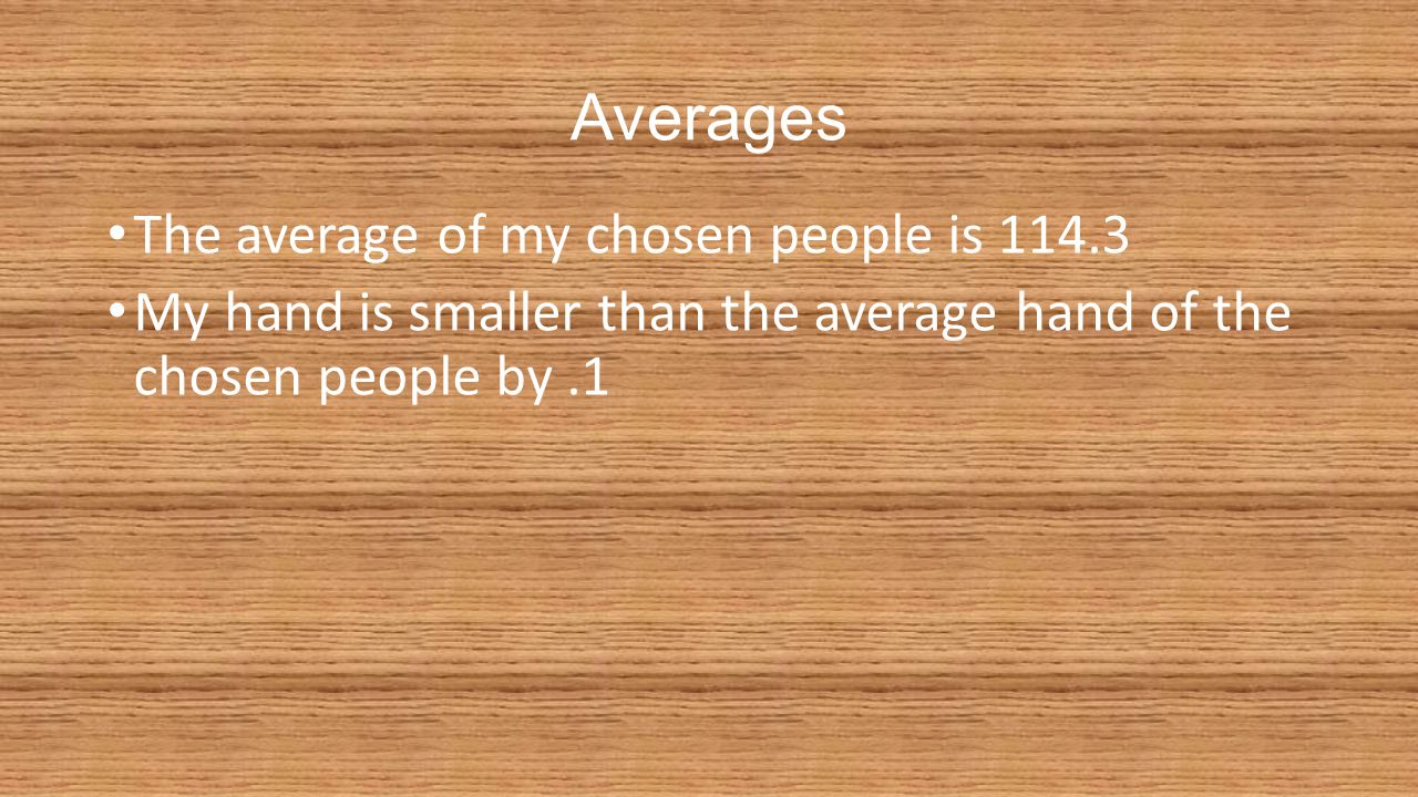 Averages The average of my chosen people is 114.3 My hand is smaller than the average hand of the chosen people by.1