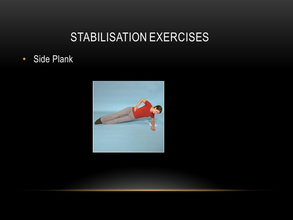STABILISATION EXERCISES Side Plank
