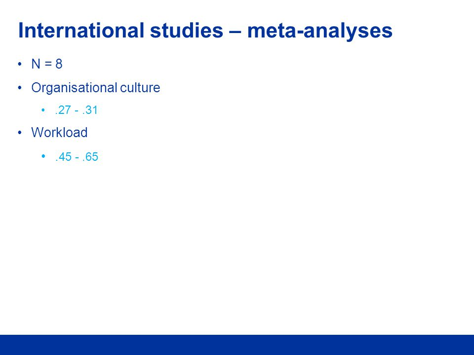 International studies – meta-analyses N = 8 Organisational culture.27 -.31 Workload. 45 -.65