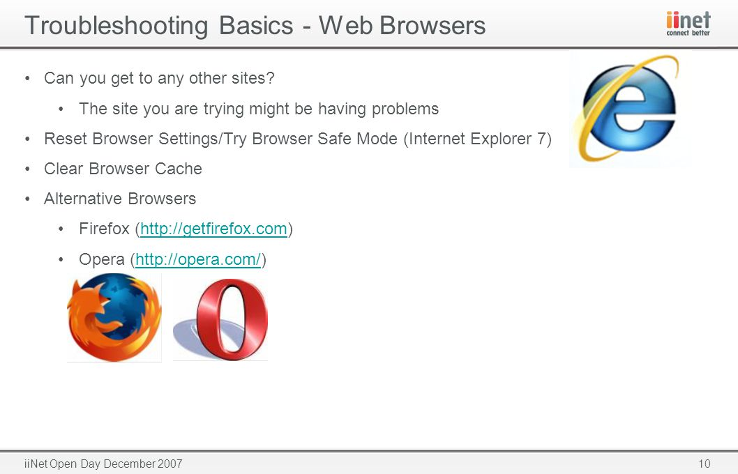 10iiNet Open Day December 2007 Troubleshooting Basics - Web Browsers Can you get to any other sites.