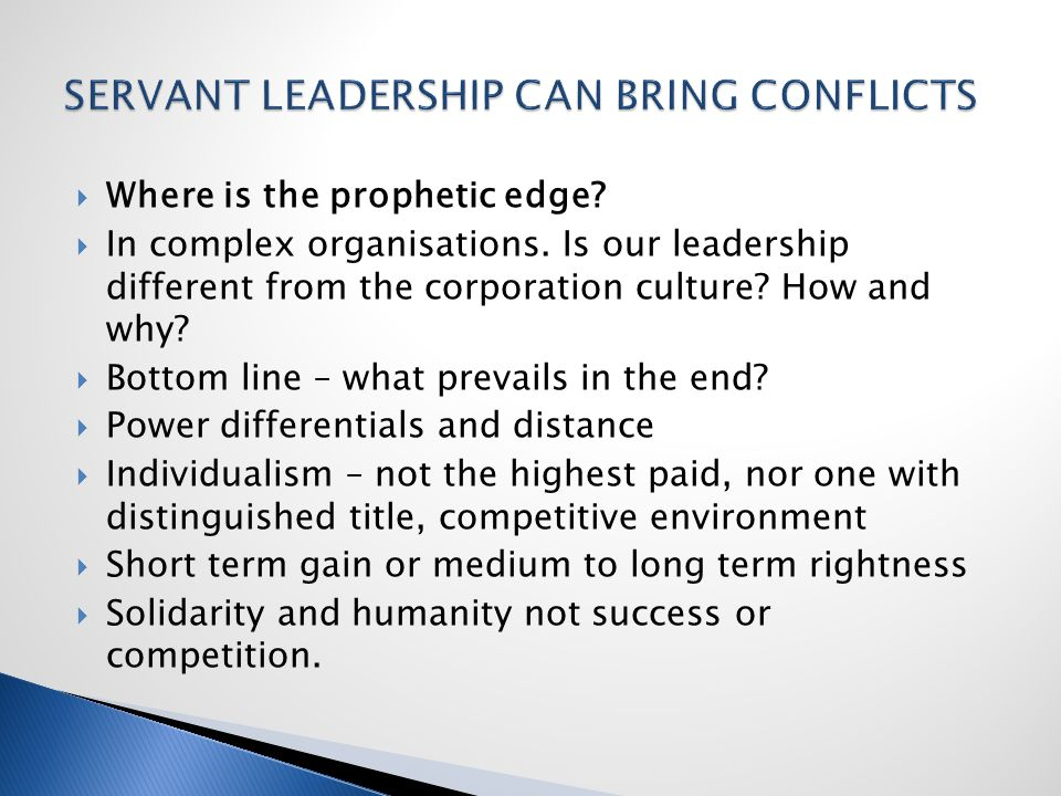  Where is the prophetic edge.  In complex organisations.
