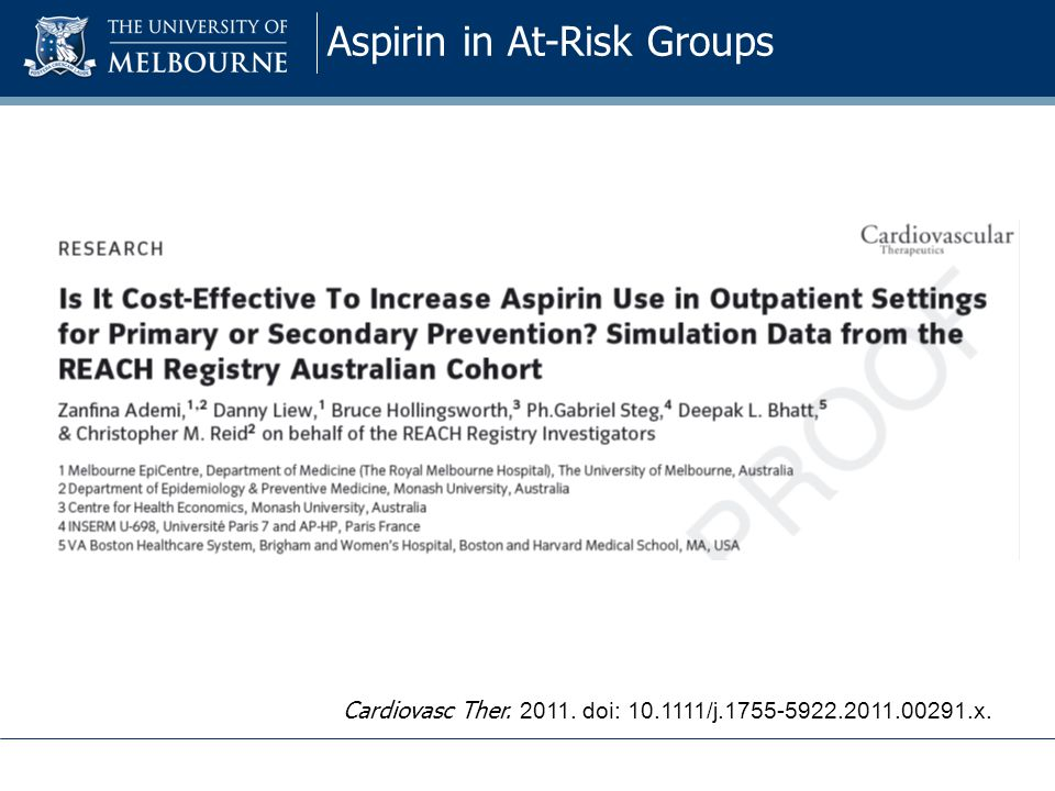 Aspirin in At-Risk Groups Cardiovasc Ther. 2011. doi: 10.1111/j.1755-5922.2011.00291.x.