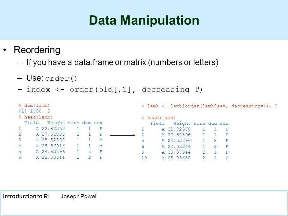 Introduction to R:Joseph Powell Data Manipulation Reordering –If you have a data.frame or matrix (numbers or letters) –Use: order() –index <- order(old[,1], decreasing=T) > dim(lamb) [1] 1600 5 > head(lamb) Field Weight sire dam sex 1 A 22.92368 1 1 F 2 A 27.52896 1 1 F 3 A 25.52592 1 1 M 4 A 25.56016 1 1 M 5 A 24.53296 1 2 F 6 A 22.03344 1 2 F > lamb <- lamb[order(lamb$sex, decreasing=F), ] > head(lamb) Field Weight sire dam sex 1 A 22.92368 1 1 F 2 A 27.52896 1 1 F 5 A 24.53296 1 2 F 6 A 22.03344 1 2 F 9 A 30.37944 2 1 F 10 A 25.93680 2 1 F