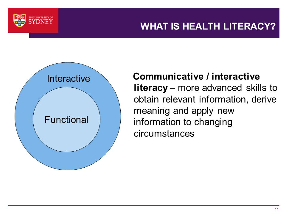 11 Communicative / interactive literacy – more advanced skills to obtain relevant information, derive meaning and apply new information to changing circumstances Interactive Functional