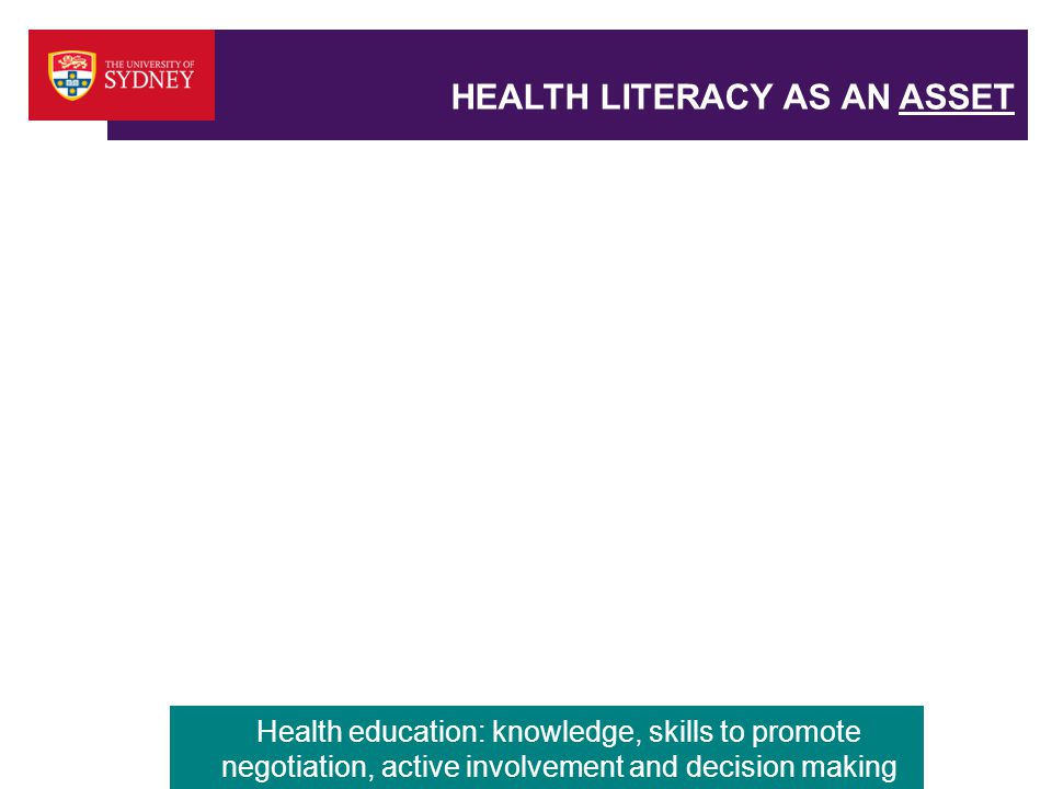 HEALTH LITERACY AS AN ASSET Health education: knowledge, skills to promote negotiation, active involvement and decision making