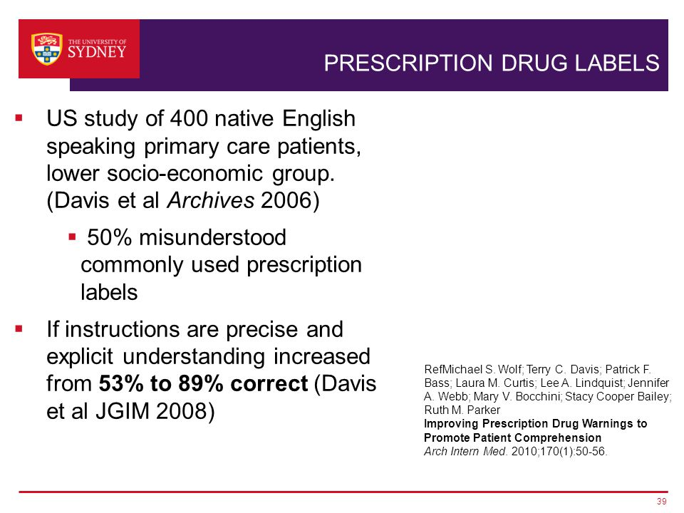 PRESCRIPTION DRUG LABELS 39  US study of 400 native English speaking primary care patients, lower socio-economic group.