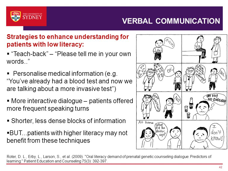 VERBAL COMMUNICATION 42 Roter, D. L., Erby, L., Larson, S., et al.