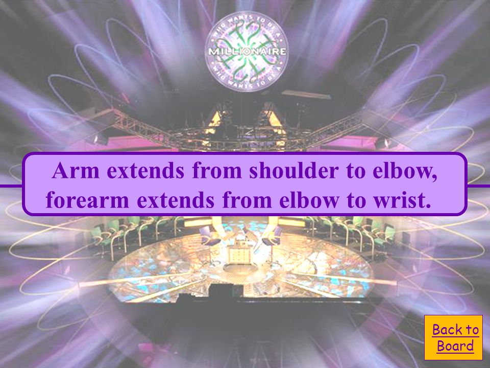 A. elbow to the wrist D. shoulder to the elbow Anatomically speaking, the arm extends from the: