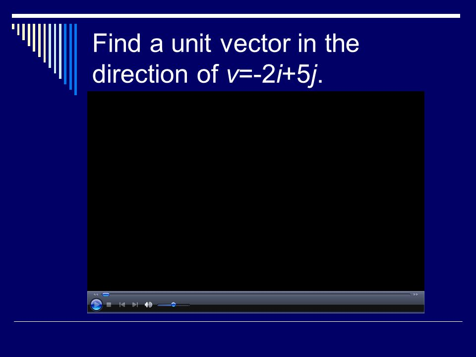 Find a unit vector in the direction of v=-2i+5j.