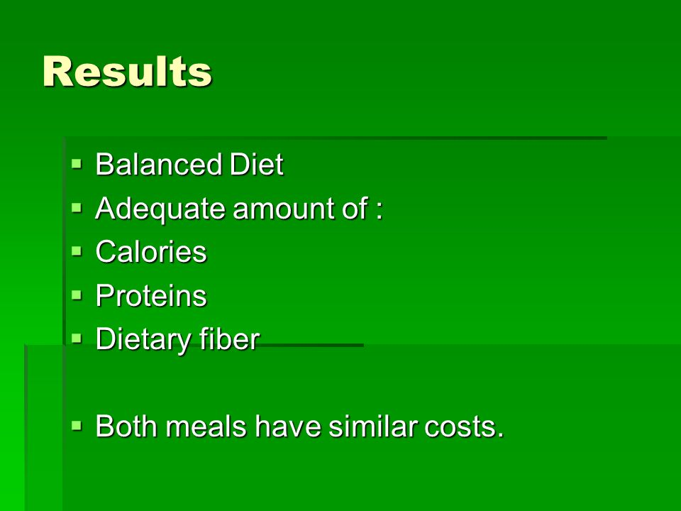 Results  Balanced Diet  Adequate amount of :  Calories  Proteins  Dietary fiber  Both meals have similar costs.