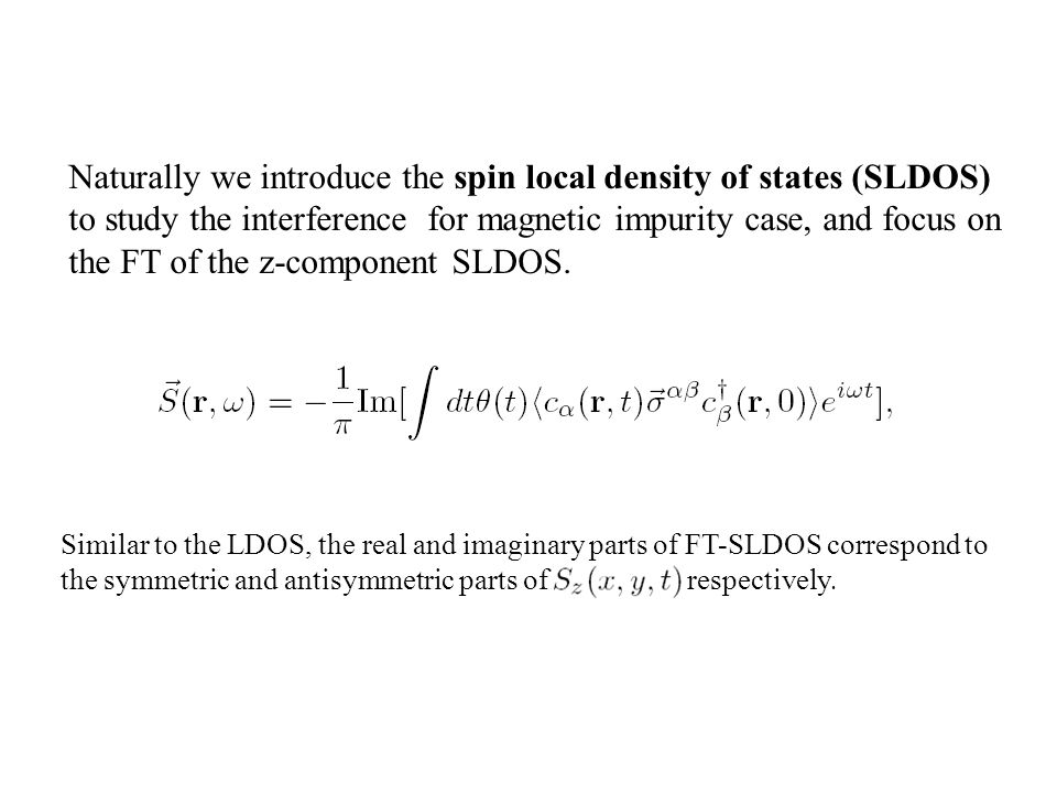 Naturally we introduce the spin local density of states (SLDOS) to study the interference for magnetic impurity case, and focus on the FT of the z-component SLDOS.