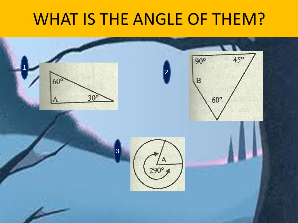 WHAT IS THE ANGLE OF THEM 1 3 2