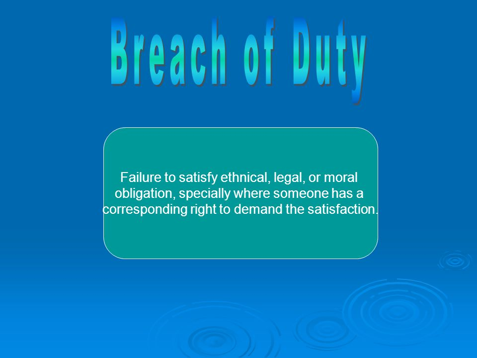 Failure to satisfy ethnical, legal, or moral obligation, specially where someone has a corresponding right to demand the satisfaction.