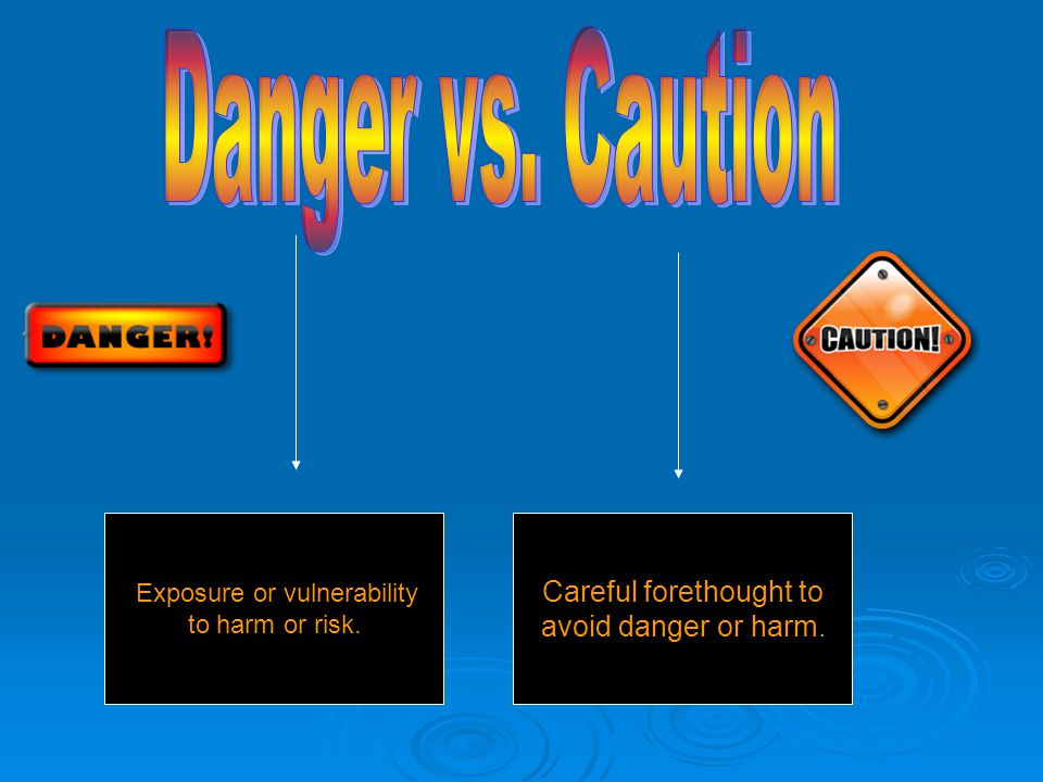 Exposure or vulnerability to harm or risk. Careful forethought to avoid danger or harm.