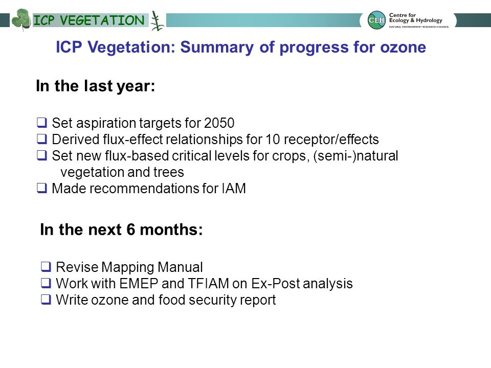 ICP VEGETATION ICP Vegetation: Summary of progress for ozone In the last year:  Set aspiration targets for 2050  Derived flux-effect relationships for 10 receptor/effects  Set new flux-based critical levels for crops, (semi-)natural vegetation and trees  Made recommendations for IAM In the next 6 months:  Revise Mapping Manual  Work with EMEP and TFIAM on Ex-Post analysis  Write ozone and food security report