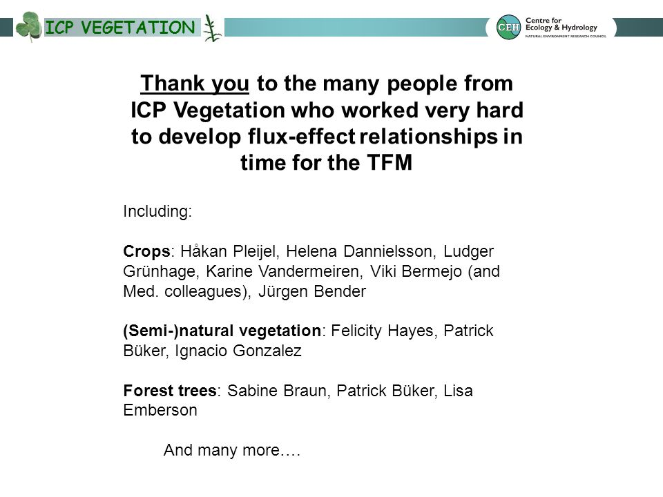 ICP VEGETATION Thank you to the many people from ICP Vegetation who worked very hard to develop flux-effect relationships in time for the TFM Including: Crops: Håkan Pleijel, Helena Dannielsson, Ludger Grünhage, Karine Vandermeiren, Viki Bermejo (and Med.