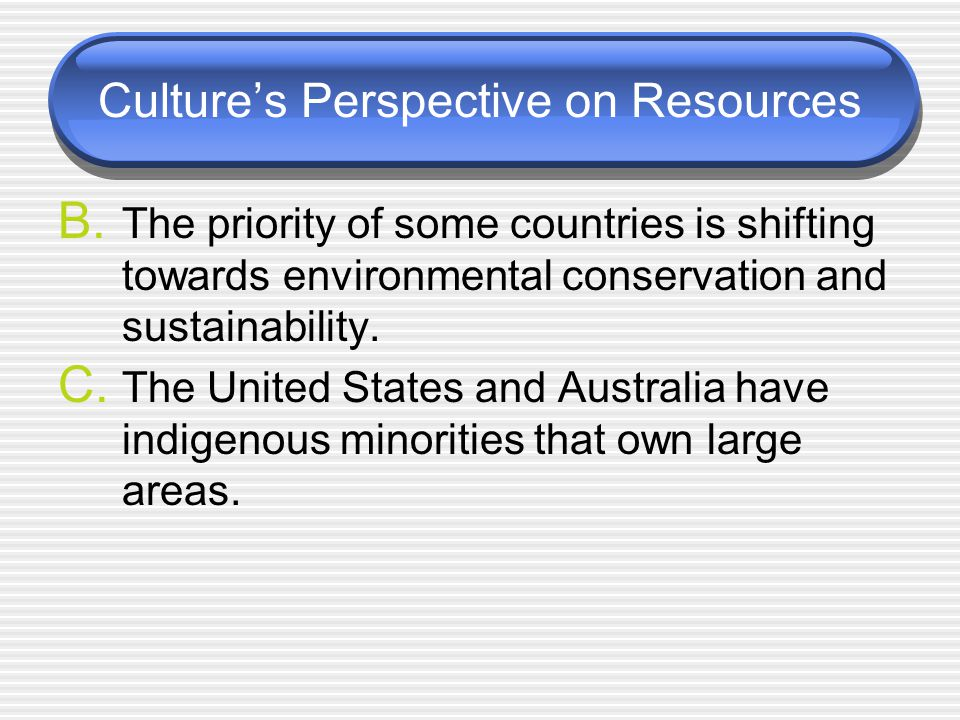 Culture's Perspective on Resources B.