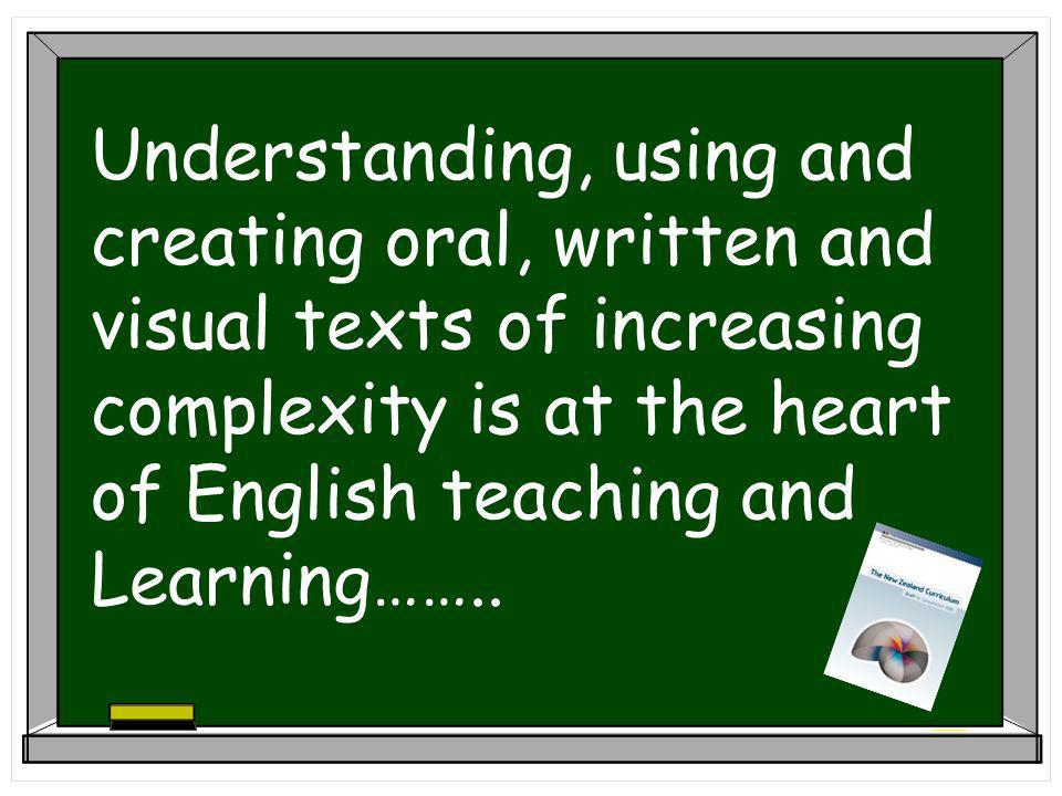 Understanding, using and creating oral, written and visual texts of increasing complexity is at the heart of English teaching and Learning……..