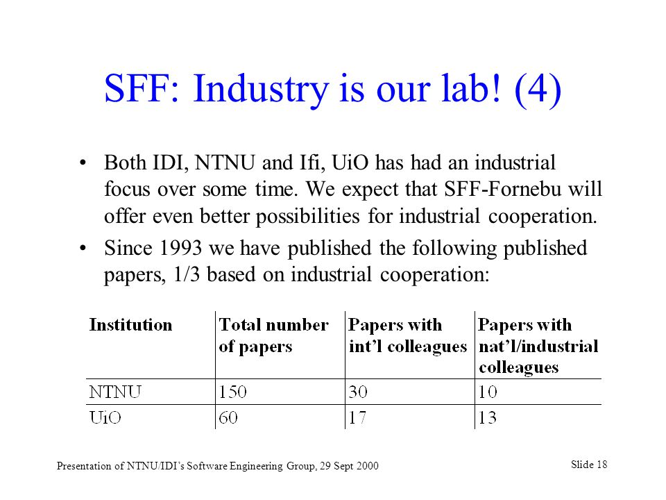 Slide 18 Presentation of NTNU/IDI's Software Engineering Group, 29 Sept 2000 SFF: Industry is our lab.