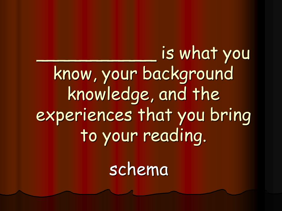___________ is what you know, your background knowledge, and the experiences that you bring to your reading.