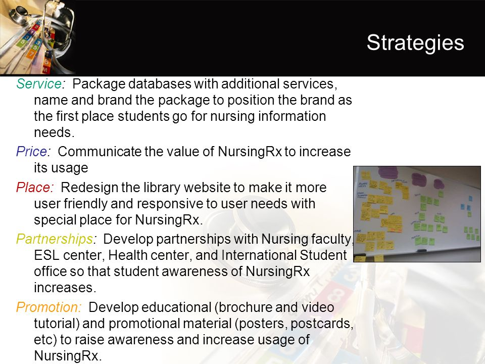 Strategies Service: Package databases with additional services, name and brand the package to position the brand as the first place students go for nursing information needs.
