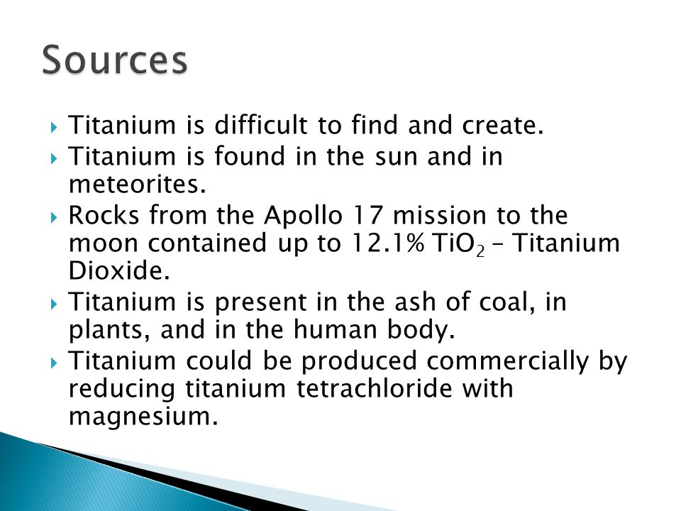  Titanium is important for alloying with aluminum, molybdenum, iron, manganese, etc.