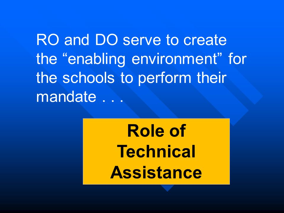 RO and DO serve to create the enabling environment for the schools to perform their mandate...