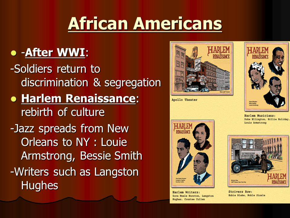 African Americans -After WWI: -After WWI: -Soldiers return to discrimination & segregation Harlem Renaissance: rebirth of culture Harlem Renaissance: rebirth of culture -Jazz spreads from New Orleans to NY : Louie Armstrong, Bessie Smith -Writers such as Langston Hughes