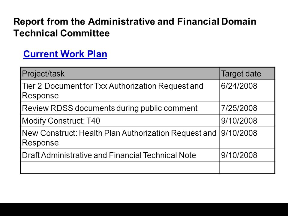42 Report from the Administrative and Financial Domain Technical Committee Current Work Plan Project/taskTarget date Tier 2 Document for Txx Authorization Request and Response 6/24/2008 Review RDSS documents during public comment7/25/2008 Modify Construct: T409/10/2008 New Construct: Health Plan Authorization Request and Response 9/10/2008 Draft Administrative and Financial Technical Note9/10/2008