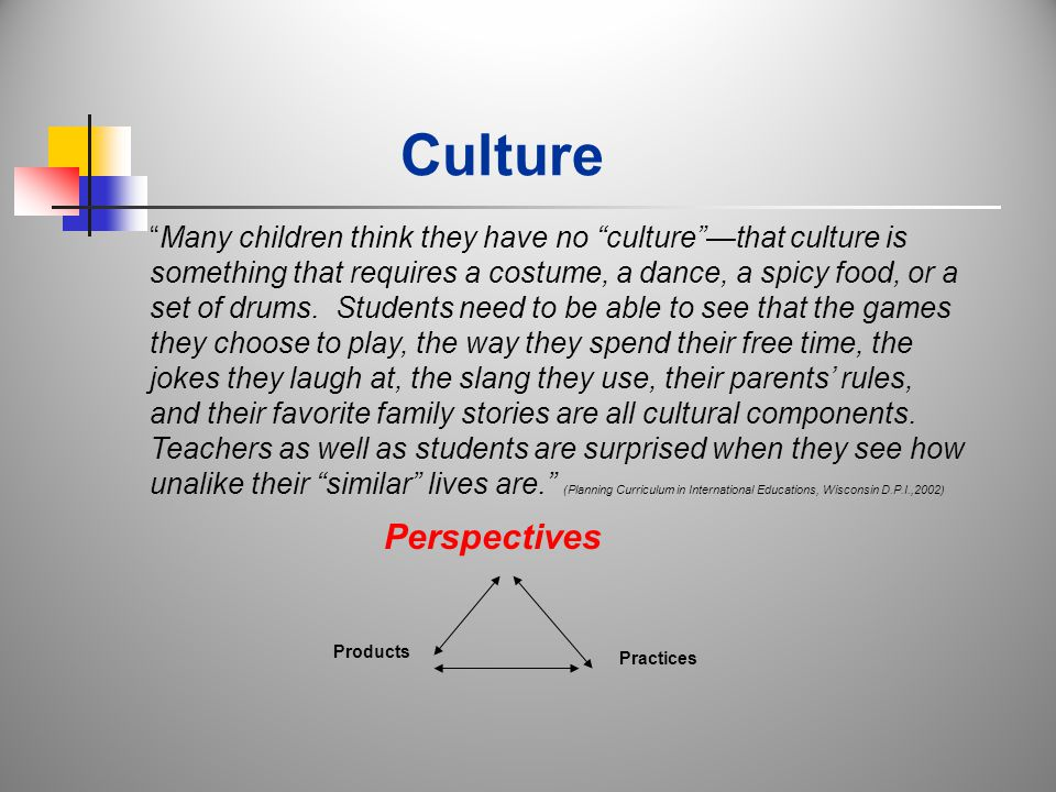 Culture Perspectives Products Practices Many children think they have no culture —that culture is something that requires a costume, a dance, a spicy food, or a set of drums.