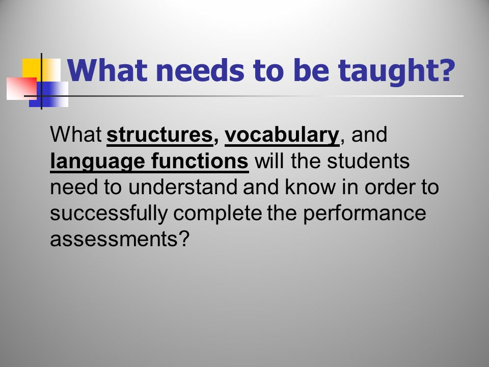 What structures, vocabulary, and language functions will the students need to understand and know in order to successfully complete the performance assessments.