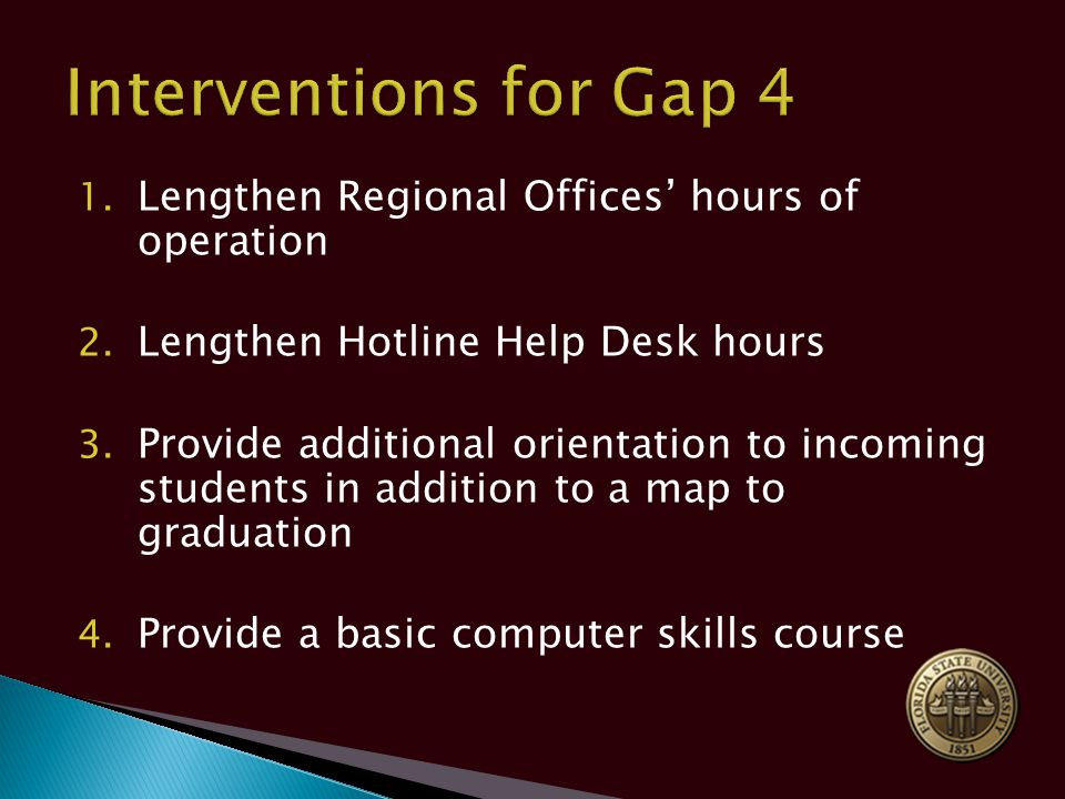 1. Lengthen Regional Offices' hours of operation 2.