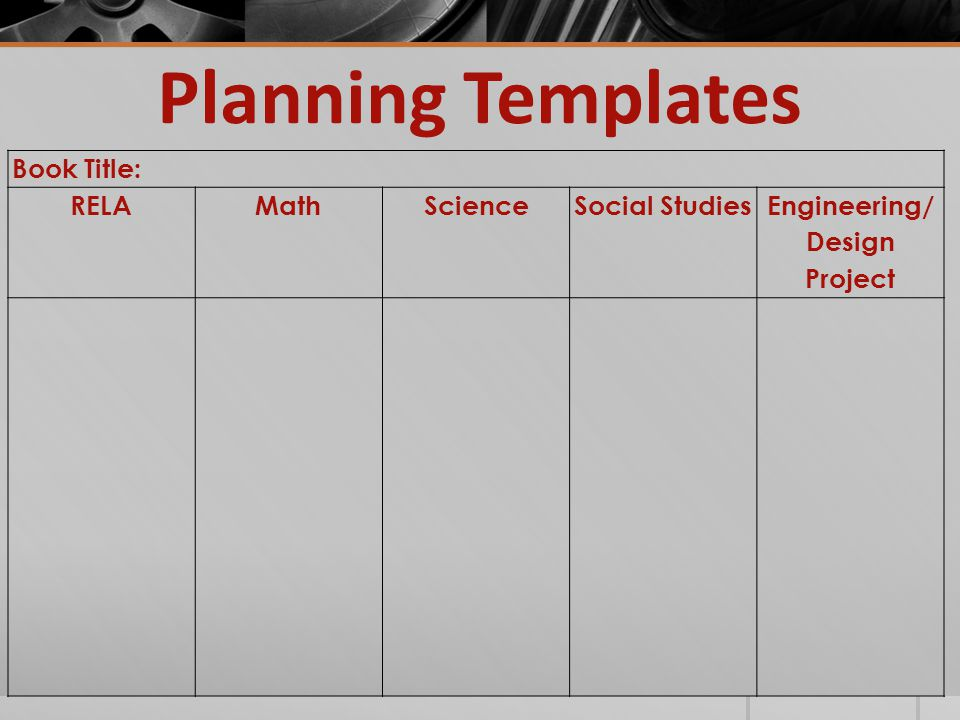 Planning Templates Book Title: RELAMathScienceSocial Studies Engineering/ Design Project