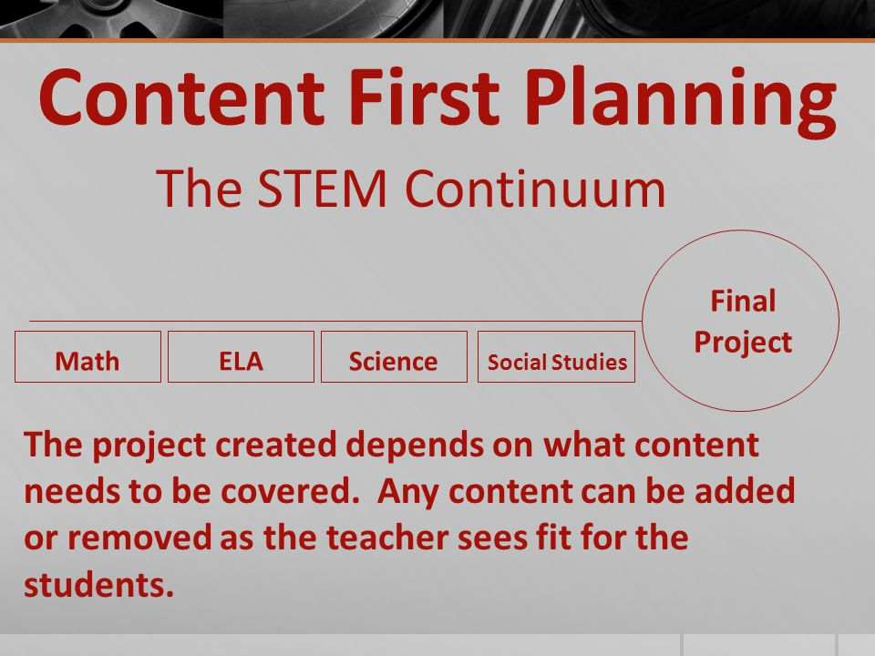 Content First Planning The STEM Continuum Final Project Math ELA Science Social Studies The project created depends on what content needs to be covered.