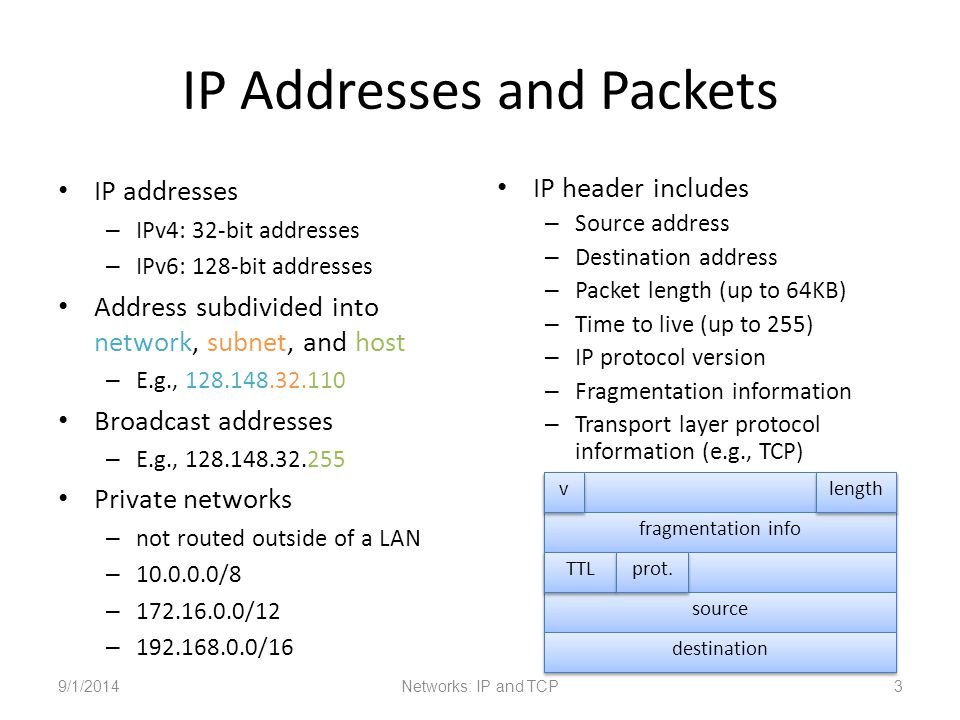 IP Addresses and Packets IP addresses – IPv4: 32-bit addresses – IPv6: 128-bit addresses Address subdivided into network, subnet, and host – E.g., 128.148.32.110 Broadcast addresses – E.g., 128.148.32.255 Private networks – not routed outside of a LAN – 10.0.0.0/8 – 172.16.0.0/12 – 192.168.0.0/16 IP header includes – Source address – Destination address – Packet length (up to 64KB) – Time to live (up to 255) – IP protocol version – Fragmentation information – Transport layer protocol information (e.g., TCP) 9/1/2014Networks: IP and TCP3 fragmentation info source destination TTL prot.