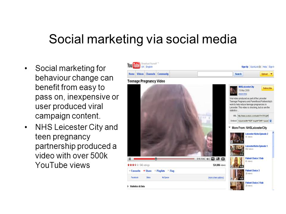 Social marketing via social media Social marketing for behaviour change can benefit from easy to pass on, inexpensive or user produced viral campaign content.