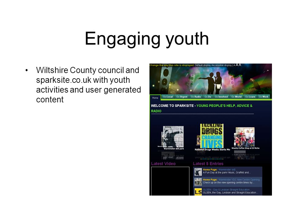 Engaging youth Wiltshire County council and sparksite.co.uk with youth activities and user generated content