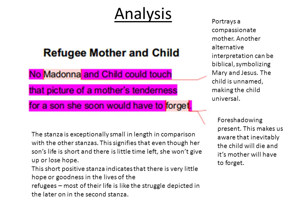 poetic device given in the poem refugee mother and child