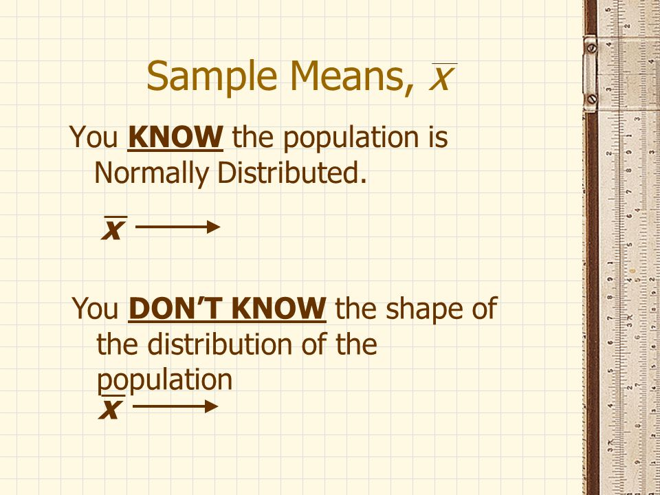 Sample Means, x You KNOW the population is Normally Distributed.