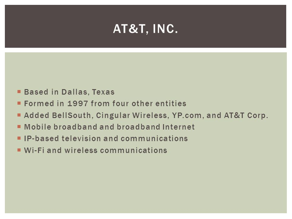  Based in Dallas, Texas  Formed in 1997 from four other entities  Added BellSouth, Cingular Wireless, YP.com, and AT&T Corp.