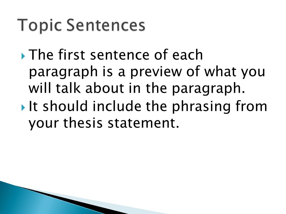  The first sentence of each paragraph is a preview of what you will talk about in the paragraph.